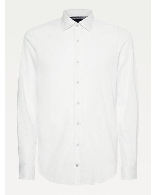 Tommy Hilfiger White Elevated Linen Blend Slim Fit Shirt for men