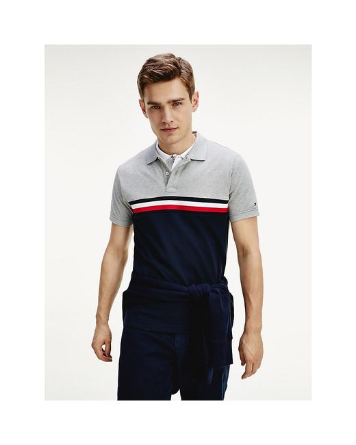 Tommy Hilfiger Gray Colour-blocked Slim Fit Polo for men