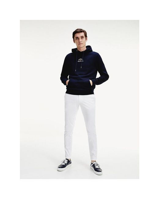 Tommy Hilfiger Blue Logo Embroidery Cotton Hoody for men