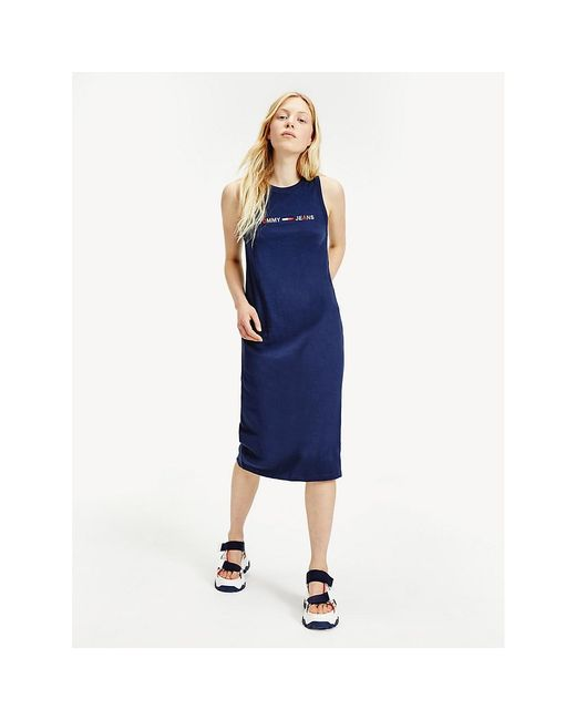 Tommy Hilfiger Blue Sleeveless Logo Tank Dress