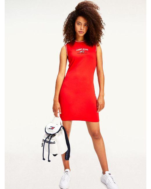 Tommy Hilfiger Red Signature Sleeveless T-shirt Dress