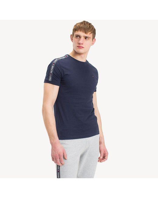 Tommy Hilfiger Blue Logo Tape T-shirt for men
