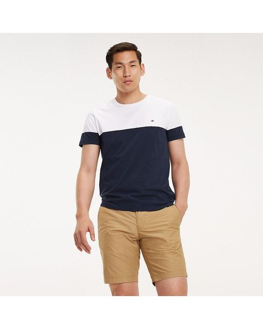 261811cf0da769 Tommy Hilfiger - White Colour-blocked Cotton T-shirt for Men - Lyst ...