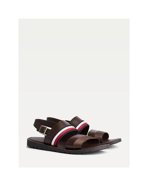 Tommy Hilfiger Brown Signature Leather Sandals for men