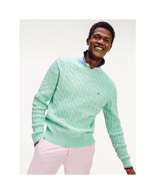 Tommy Hilfiger Green Organic Cotton Cable Knit Jumper for men