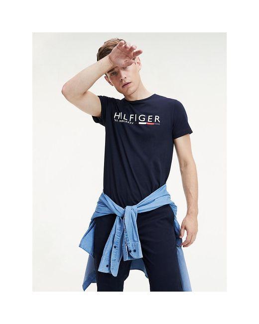 Tommy Hilfiger Blue Rubberised Logo Organic Cotton T-shirt for men