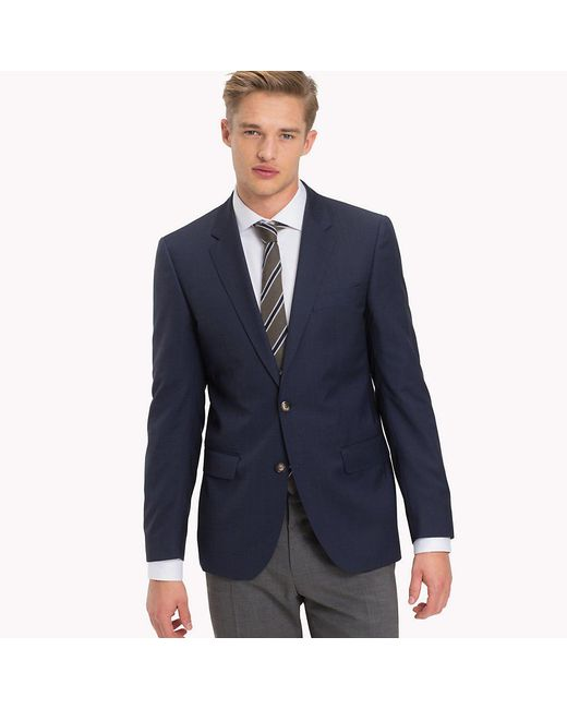 Tommy Hilfiger Blue Pure Virgin Wool Two Button Jacket for men