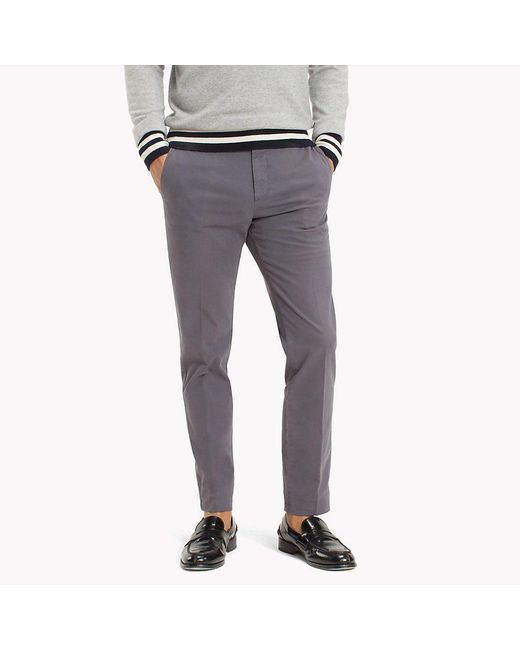 Tommy Hilfiger Gray Cotton Twill Trousers for men