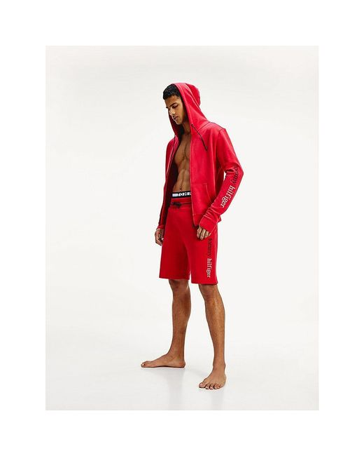 Tommy Hilfiger Red Logo Embroidery Zip-thru Hoody for men