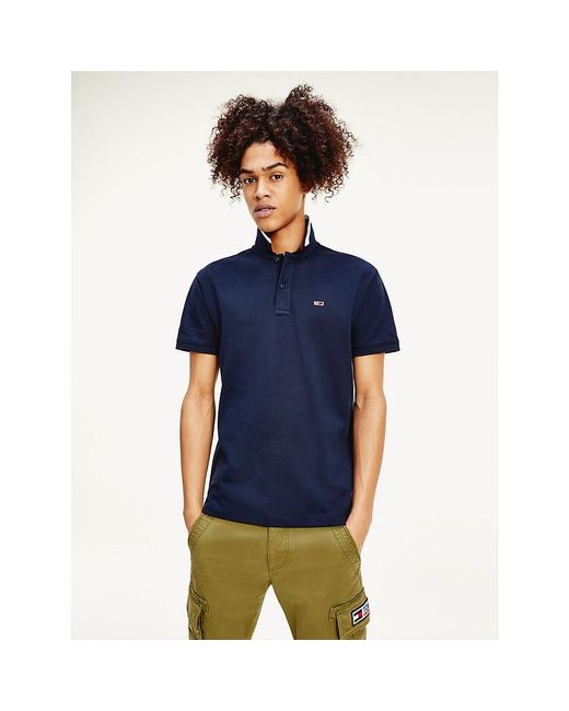Tommy Hilfiger Blue Classic Stripe Collar Flag Patch Polo for men