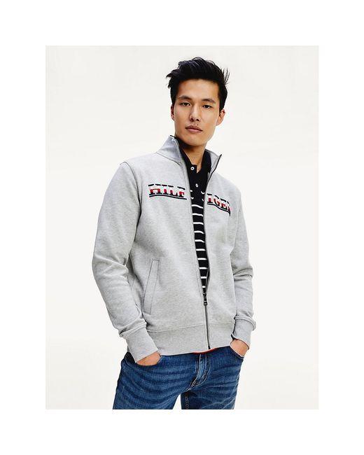 Tommy Hilfiger Gray Embroidery Logo Zip-thru Sweatshirt for men