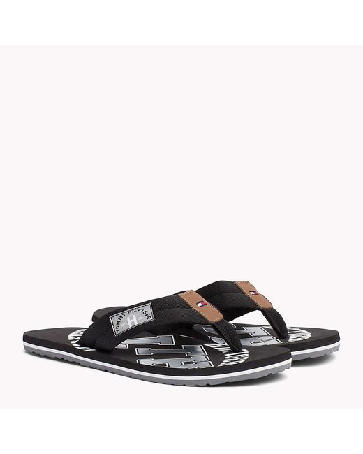 Tommy Hilfiger Black Tommy Beach Sandals for men