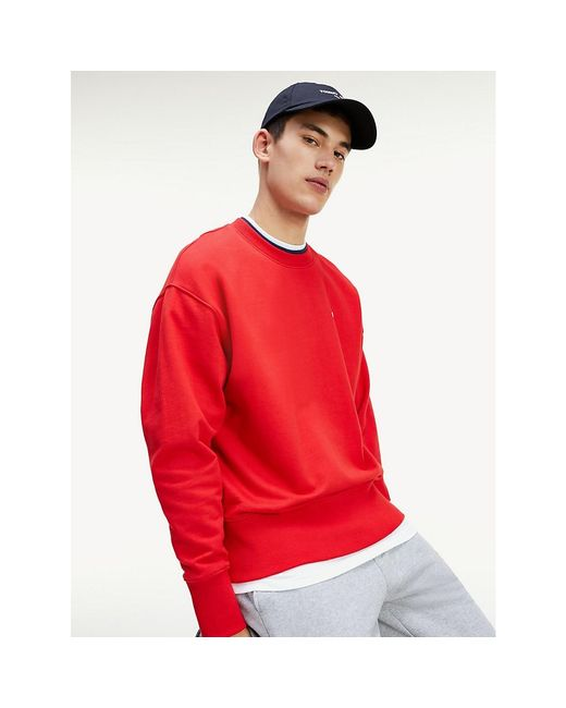 Tommy Hilfiger Red Double Crew Neck Organic Cotton Sweatshirt for men