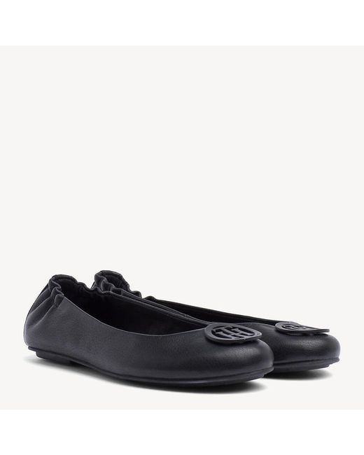 3e9944086386 Tommy Hilfiger Leather Ballerina Pumps in Black - Save 1% - Lyst