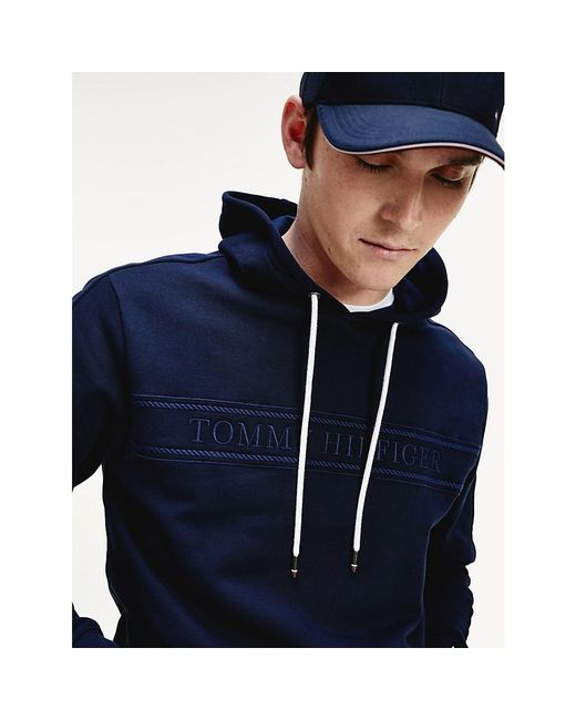 Tommy Hilfiger Blue Logo Embroidery Hoody for men