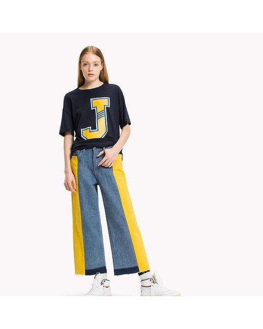 Tommy Hilfiger - Blue Cotton Jersey Oversized T-shirt - Lyst