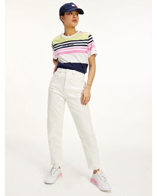 Tommy Hilfiger Witte High Rise Tapered Mom Jeans in het Multicolor