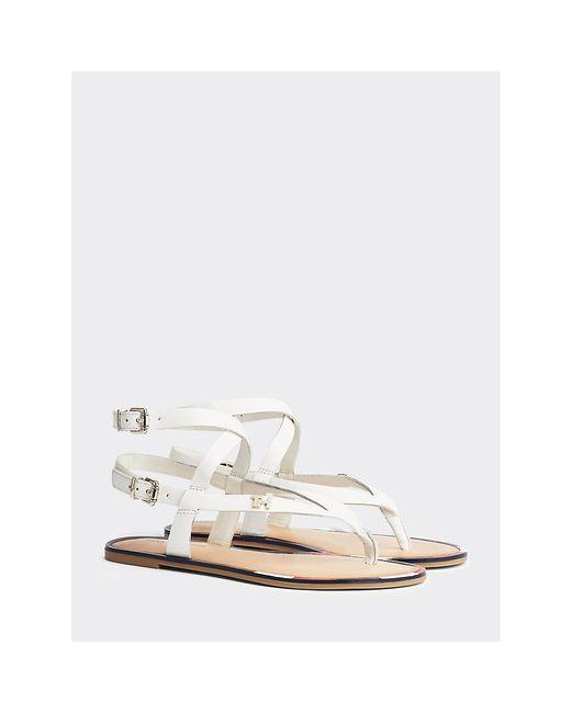 Tommy Hilfiger White Iconic Monogram Flat Strappy Sandals