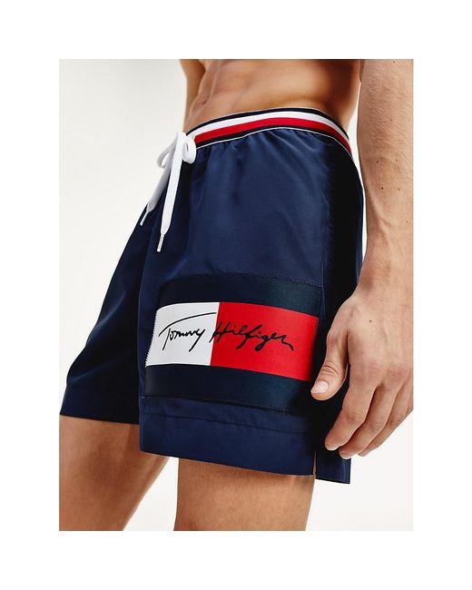 Tommy Hilfiger Blue Signature Waistband Drawstring Swim Shorts for men