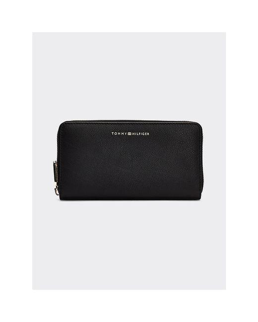 Tommy Hilfiger Black Leather Turn Lock Zip-around Wallet
