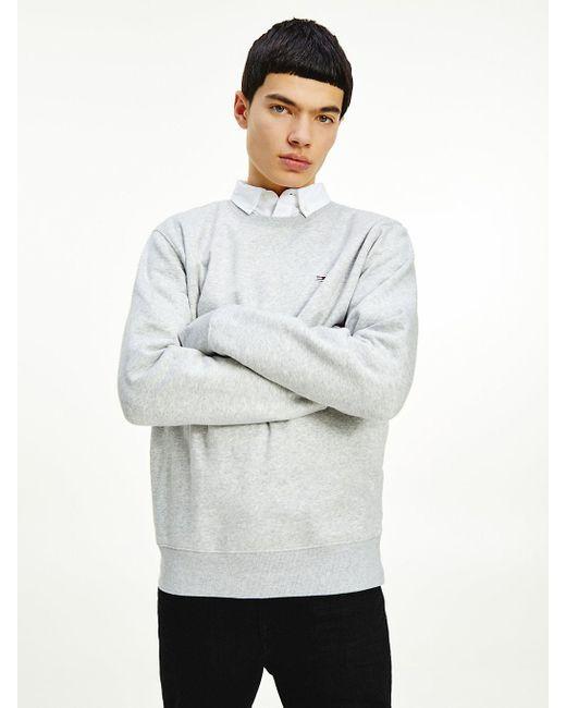 Tommy Hilfiger Fleece Sweatshirt Met Ronde Hals in het Gray voor heren
