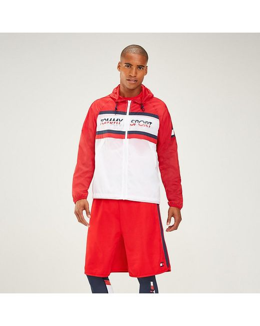 Tommy Hilfiger Red Colour-blocked Windbreaker for men