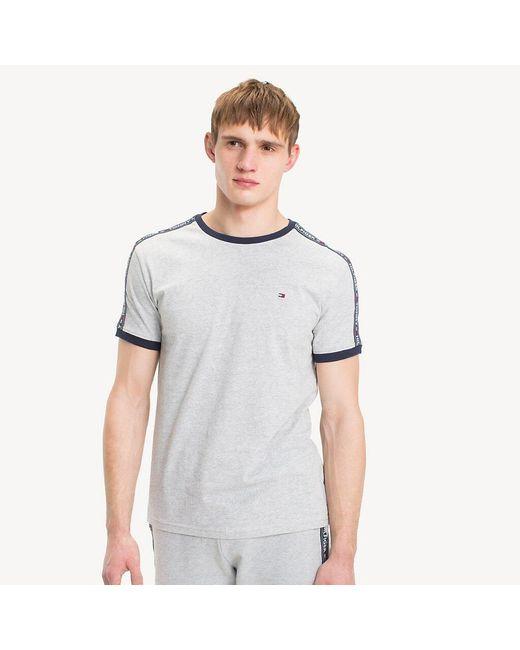 Tommy Hilfiger Gray Logo Tape T-shirt for men