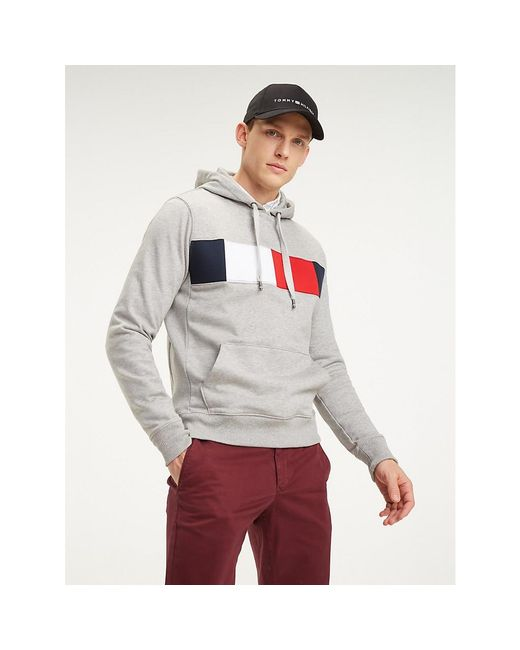 Tommy Hilfiger Gray Colour-blocked Drawstring Hoody for men