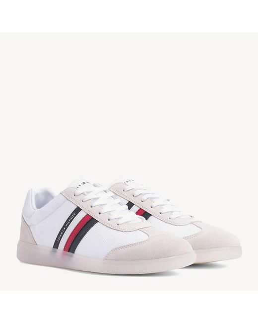 00246118 Tommy Hilfiger Mixed Fabrication Trainer With Contrast Sole And Flag In  White for men ...