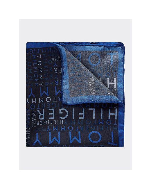 Tommy Hilfiger Blue Pure Silk Logo Pocket Square for men