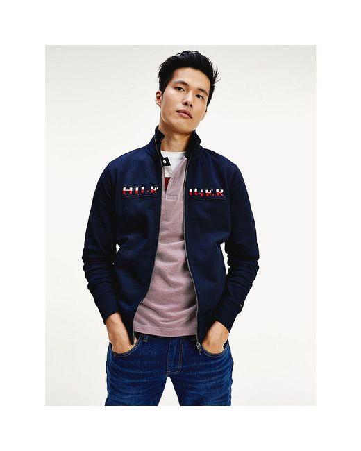 Tommy Hilfiger Blue Embroidery Logo Zip-thru Sweatshirt for men