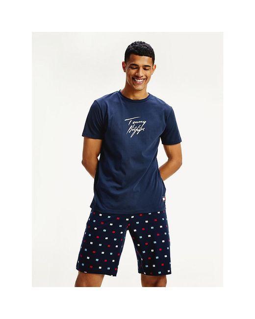 Tommy Hilfiger Blue Signature Logo Organic Cotton T-shirt for men