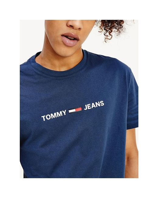 Tommy Hilfiger Blue Pure Cotton Small Logo T-shirt for men