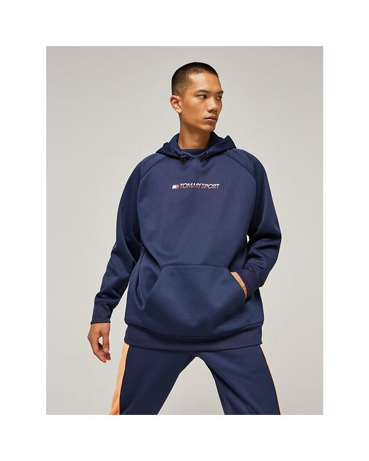Tommy Hilfiger Blue Oversized Fleece Hoody for men