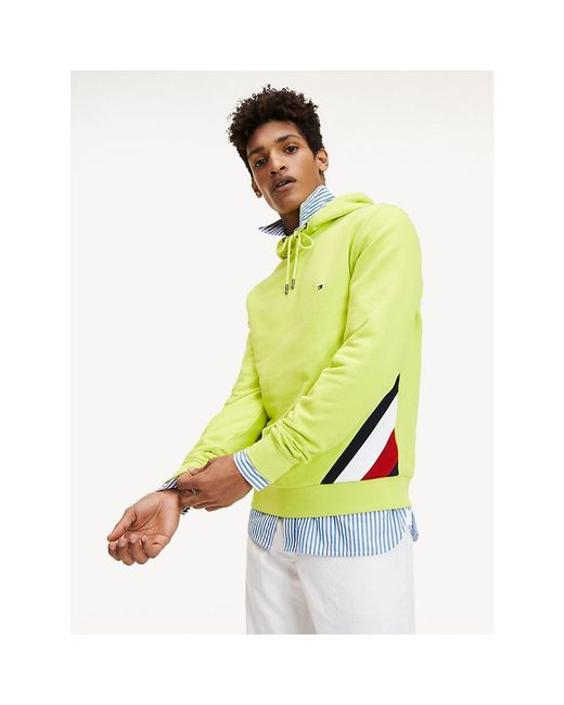 Tommy Hilfiger Green Colour-blocked Drawstring Hoody for men