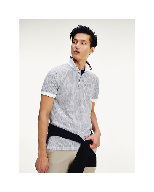 Tommy Hilfiger Blue Micro Print Polo for men