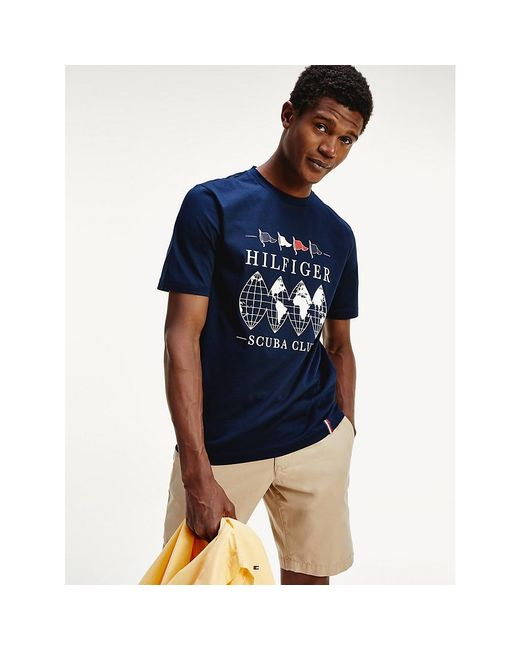 Tommy Hilfiger Blue Scuba Club Logo Relaxed Fit T-shirt for men
