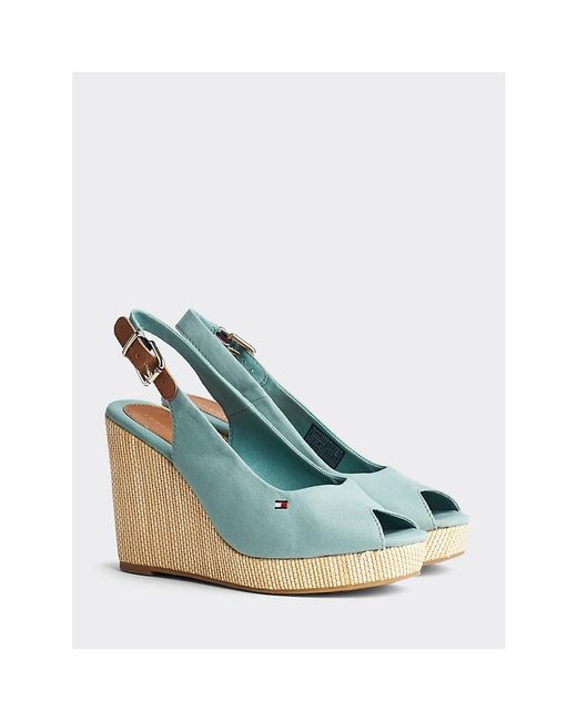 Tommy Hilfiger Green Iconic Slingback Wedges