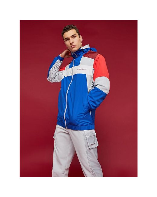 Tommy Hilfiger Blue Colour-blocked Waterproof Jacket for men