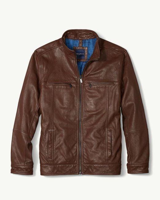 Tommy Bahama - Brown Hudson Peak Leather Aviator Jacket for Men - Lyst