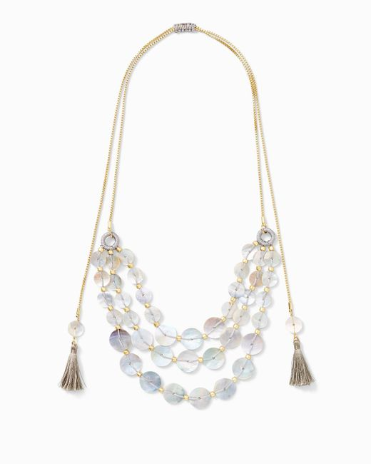 Tommy Bahama Natural Triple Strand Shell Disk Necklace