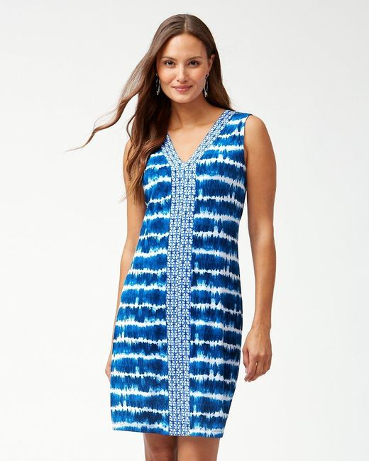 abe5279fbb Tommy Bahama - Blue Oliana Stripe Sleeveless Dress (island Navy) Women s  Dress - Lyst ...