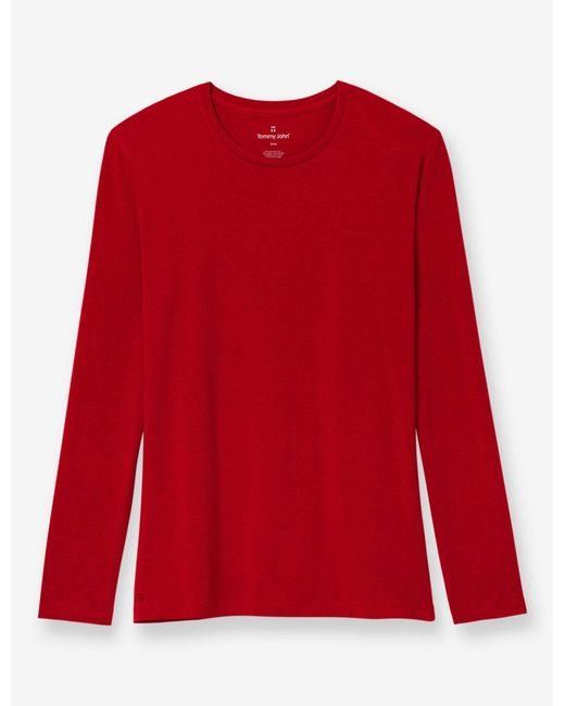 Tommy John Red Second Skin Long Sleeve Crew Neck Tee