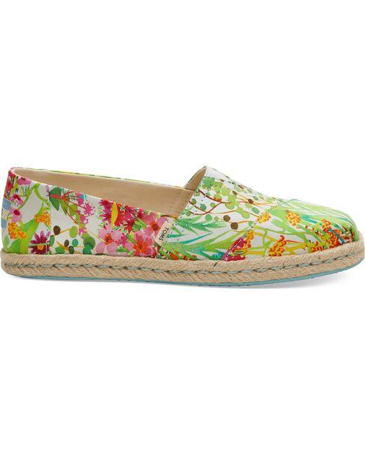 TOMS Groene Espadrilles Met Bloemen Schoenen in het Multicolor
