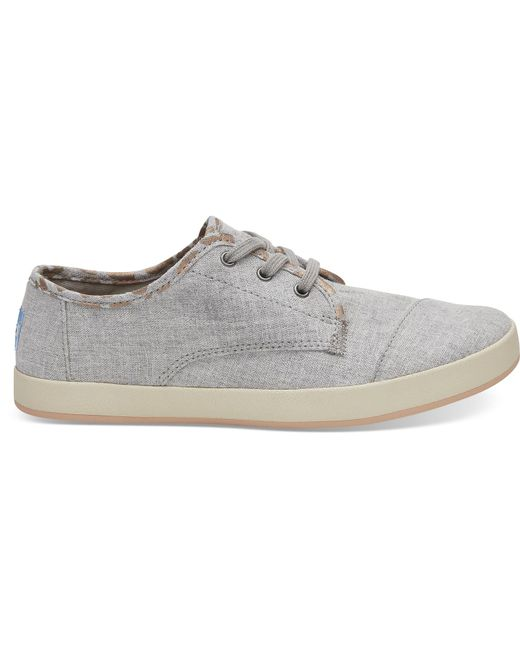 TOMS - Gray Drizzle Grey Slub Chambray With Cheetah Print Women's Paseo Sneakers - Lyst