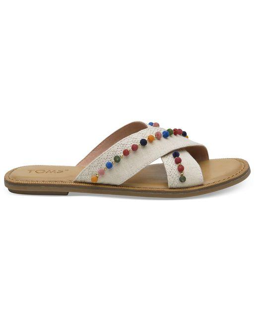 TOMS - Natural Oxford Pom Poms Women's Viv Sandals - Lyst