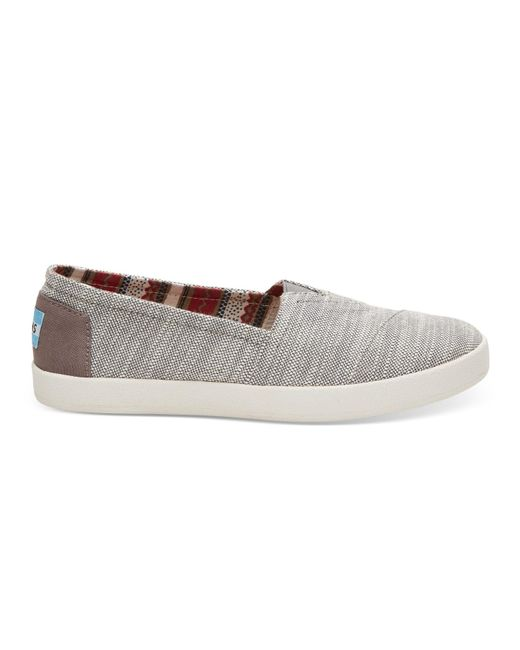 TOMS | Gray Grey Textured Woven Women's Avalon Slip-ons | Lyst