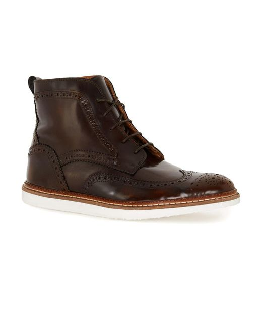 Topman | House Of Hounds Brown Leather Lace Brogue Boots for Men | Lyst