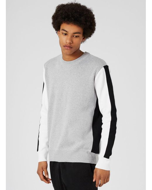 Topman Grey White And Black Knit Insert Jumper in Gray for Men   Lyst