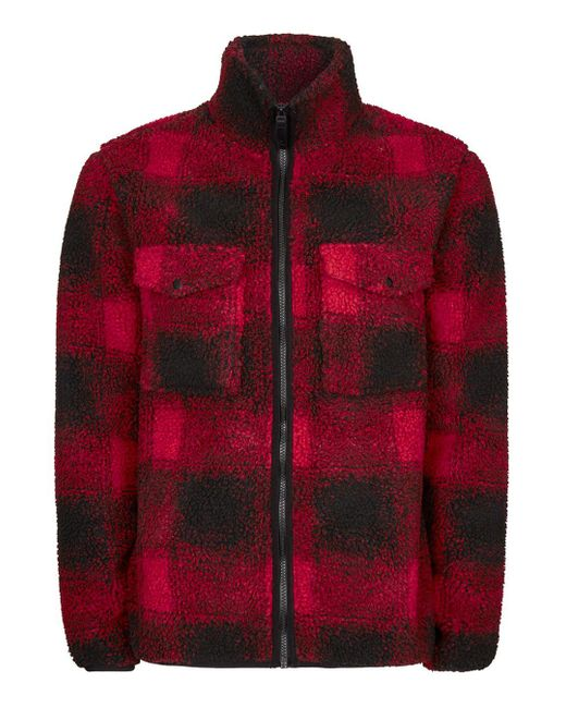 Topman   Red Check Borg Jacket for Men   Lyst